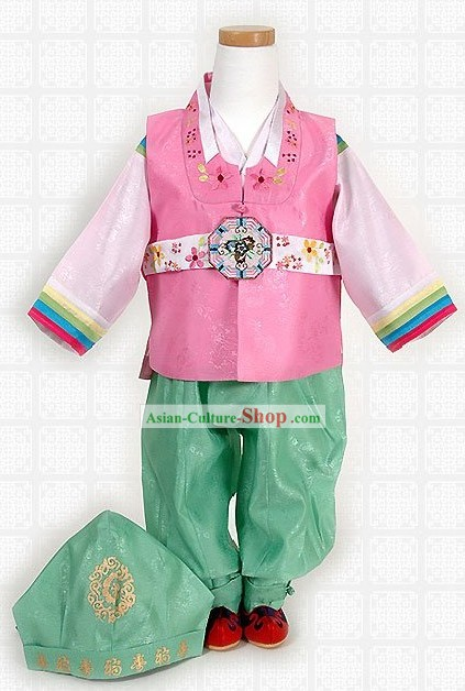 Korean Kids Hanbok Costume and Hat Complete Set