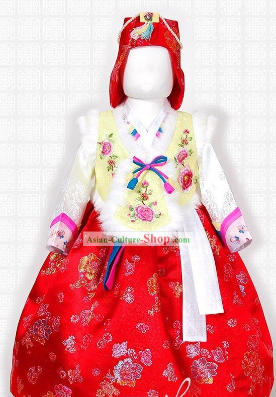 Korean Festival Celebration Hanbok and Hat Complete Set