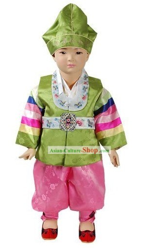 Korean Classical Baby Hanbok Clothing and Hat Complete Set