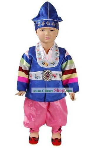 Traditional Korean Baby Hanbok Clothing and Hat Complete Set