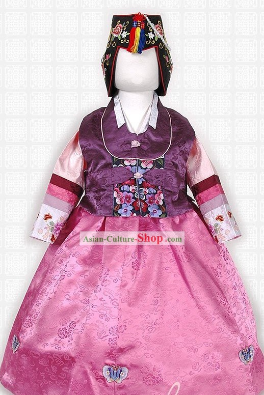 Traditional Korean Hanbok Clothing and Hat Complete Set