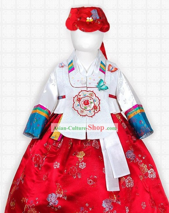 Korean Children Hanbok Clothing and Hat Complete Set
