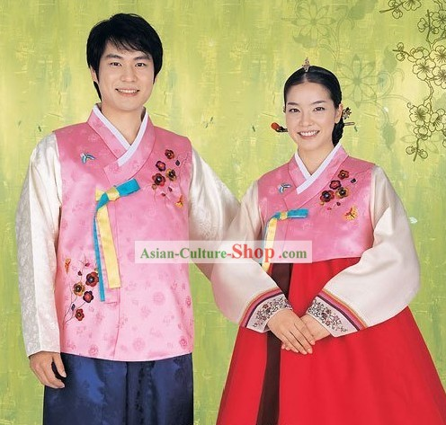 Traditional Korean Husband and Wife Hanbok 2 Sets