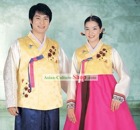 Traditional Korean Wedding Couple Hanbok 2 Sets