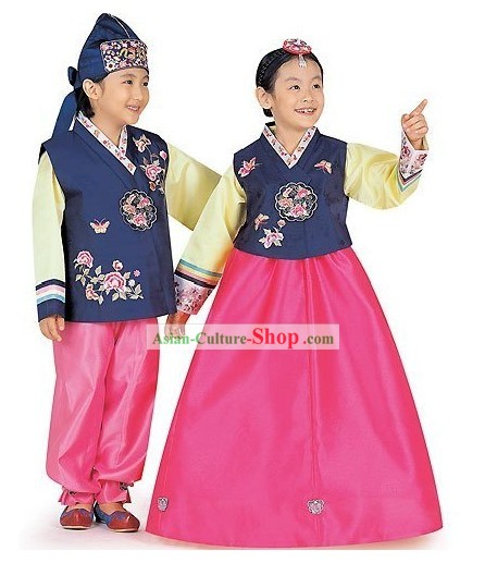 Traditional Korean Children Hanbok 2 Sets for Boys and Girls