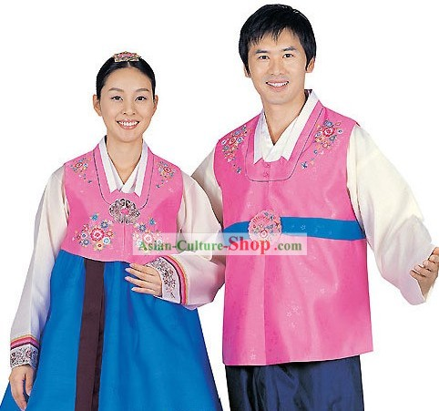 Traditional Korean Bride and Bridegroom Wedding Hanbok 2 Sets
