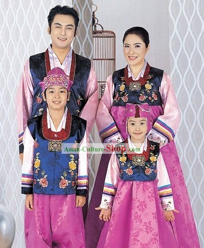 Traditional Korean Family Father Mother Son Daughter Wedding Hanbok 4 Sets
