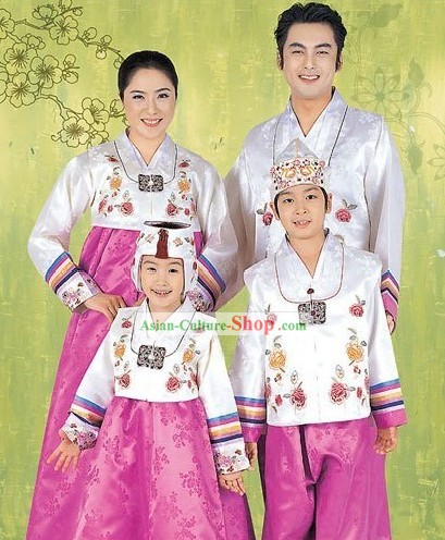 Traditional Korean Family Father Mother Son Daughter Wedding Hanboks 4 Sets