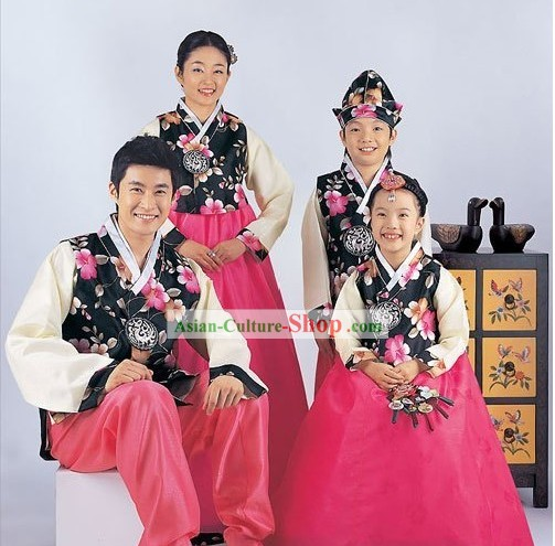 Traditional Korean Family Parents and Kids Wedding Hanboks 4 Sets