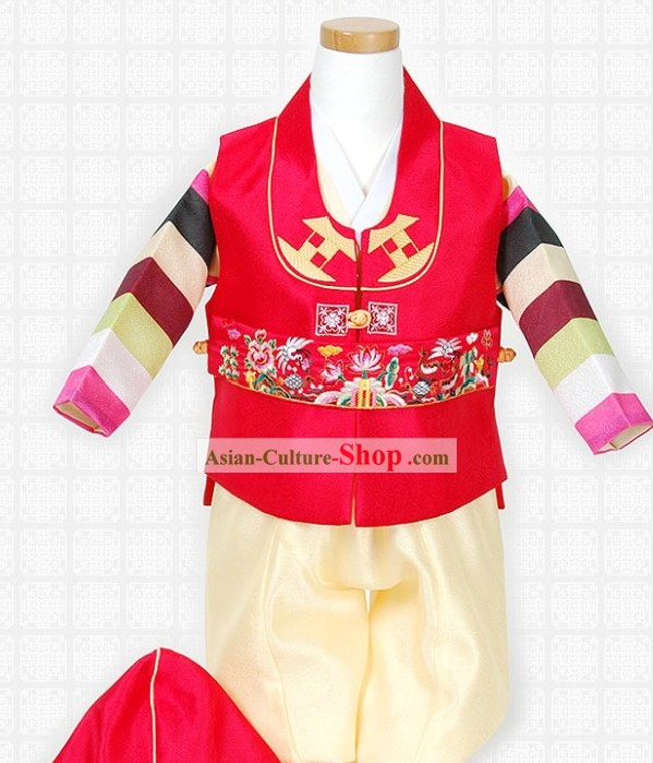 Traditional Korean Children Clothing and Hat Complete Set