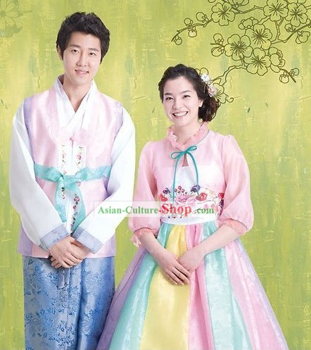 Traditional Korean Couple Hanbok Clothing 2 Sets for Men and Women