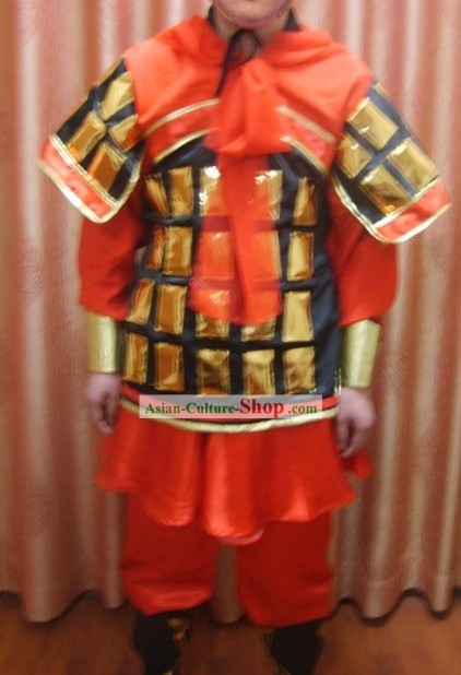 Ancient Chinese Terra Cotta Warrior Costume and Hat Complete Set