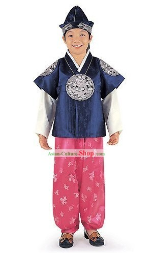 Traditiona Korean Boys Hanbok Clothing Complete Set