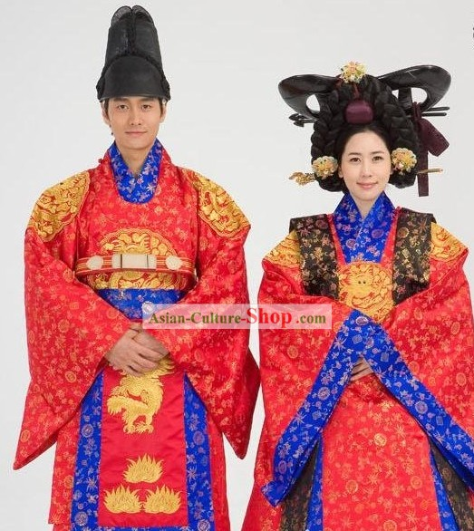 Ancient Korean Emperor and Empress Wedding Dress 2 Sets