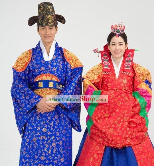 Traditional Korean Wedding Costumes 2 Sets for Men and Women