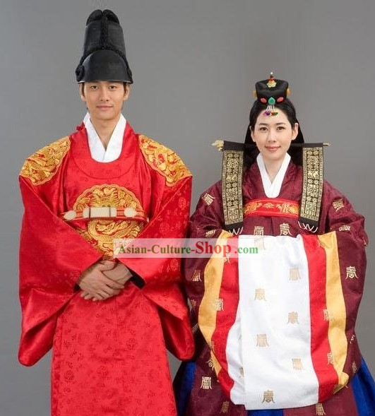 Ancient Korean Royal Wedding Dress 2 Sets for Bride and Bridegroom