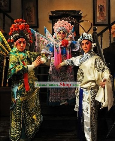 Chinese Beijing Opera Costumes and Hats Three Sets