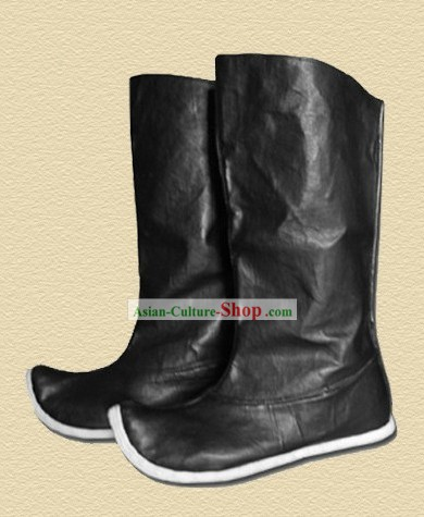 Ancient Chinese Handmade Hanfu Black Leather Boots for Men