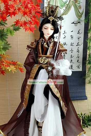Ancient Chinese Royal Men Costume and Hat Complete Set