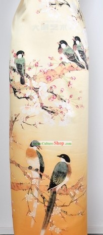 Chinese Bird and Flower 100% Silk Fabric