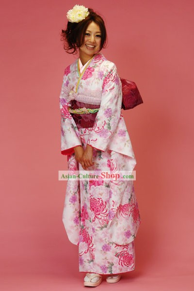 Japanese Classic Pink Furisode Kimono Dress Obi and Geta Sandal Complete Set for Women