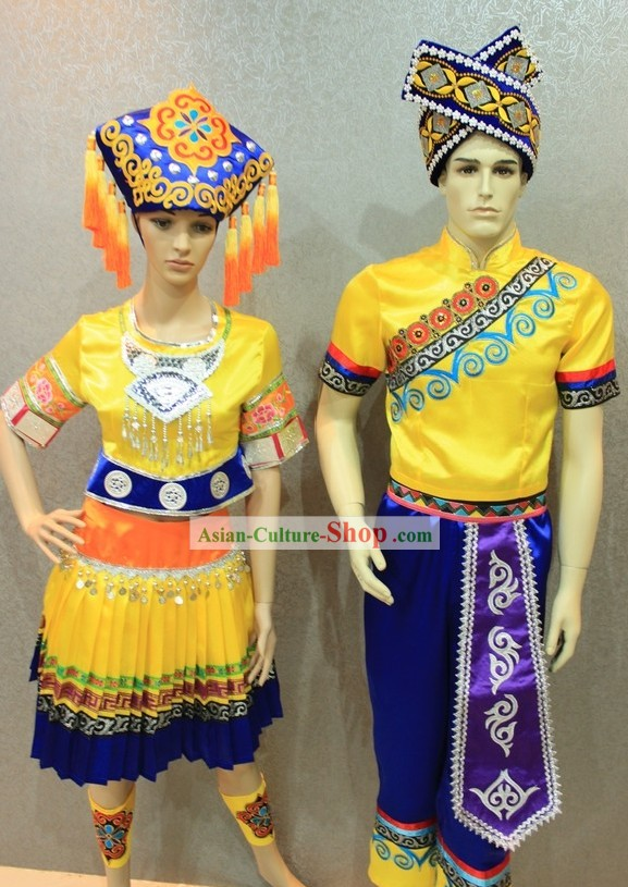 Traditional Chinese Ethnic Clothing 2 Complete Sets for Men and Women