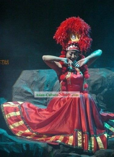 Traditional Chinese Stage Performance Ethnic Dance Costumes and Hat