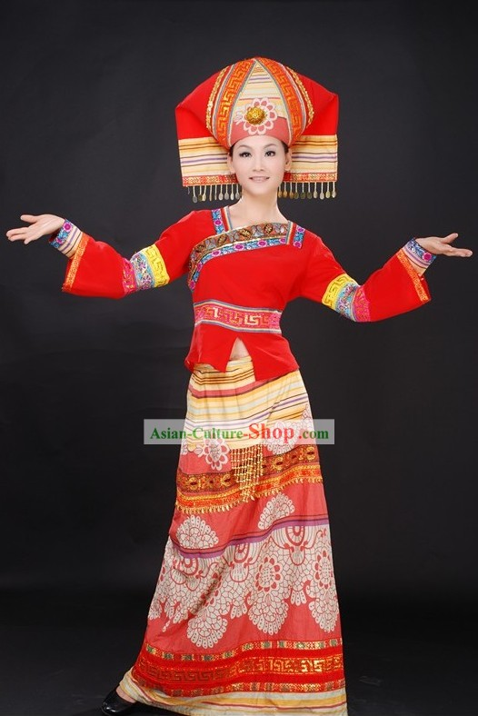 Chinese Ethnic Wedding Dress and Hat Complete Set