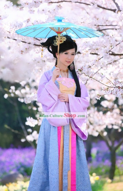 Chinese Qin Dynasty Beauty Costumes Complete Set