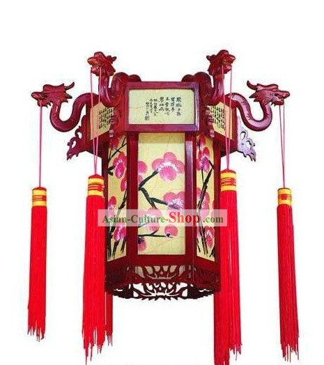 Traditional Chinese Wooden Dragon Plum Blossom Palace Lantern