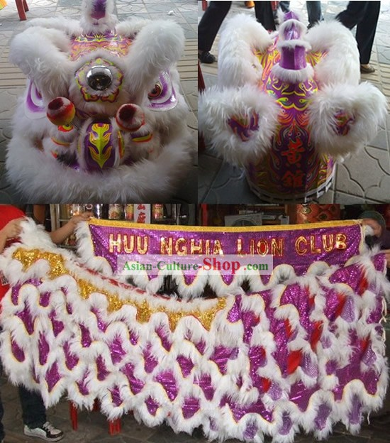 Top Fluorescent Lion Dancing Head and Costume Complete Set