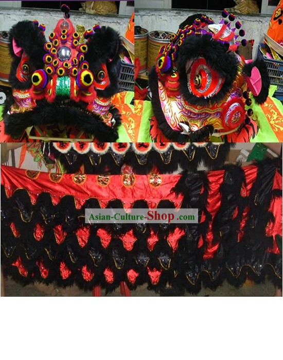 Peacock Crown Pom Pom Supreme Lion Dance Costume Complete Set