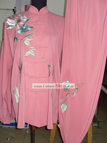 Chinese Embroidered Flower Silk Tai Chi Clothes Set