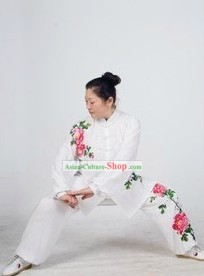 Traditional Chinese Silk Peony Kung Fu Suit
