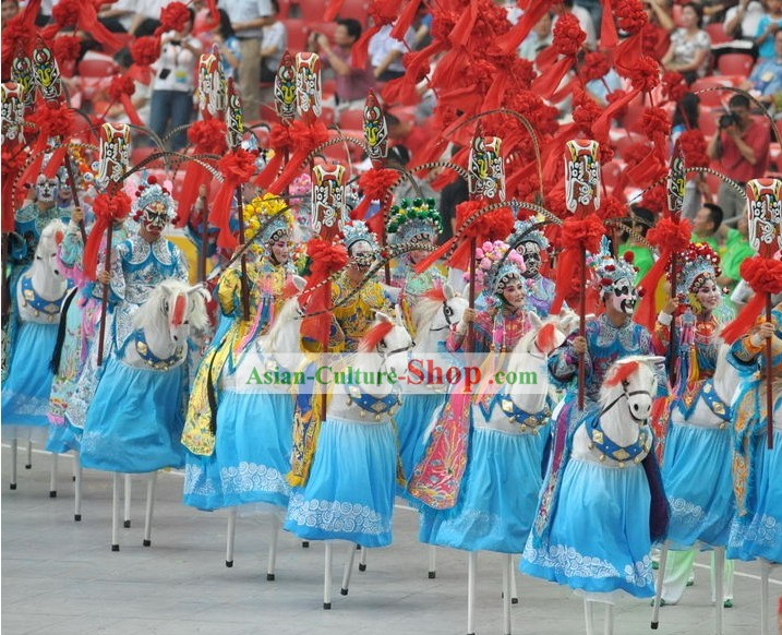 Beijing Olympic Games Opening Ceremony Stilt Dance Costumes Complete Set