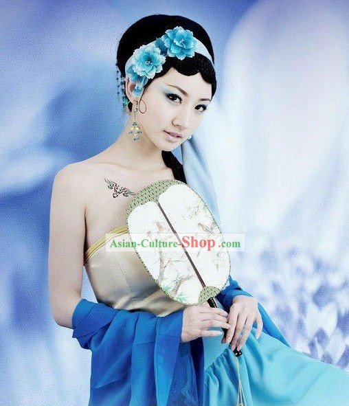 Ancient Chinese Alluring Woman Drama Character Costumes and Hair Accessories Complete Set