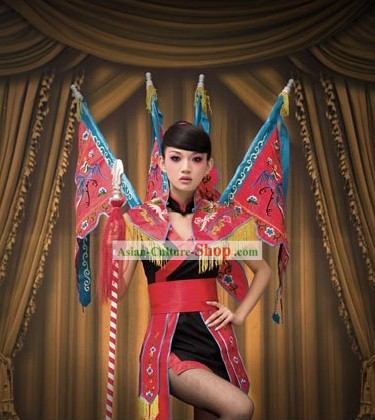 Chinese Opera Stage Performance Costumes with Flags