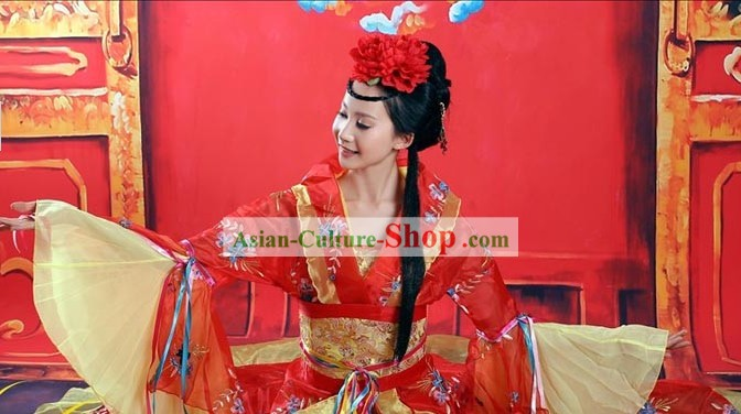 Traditional Chinese Gui Fei Red Wedding Dress Complete Set