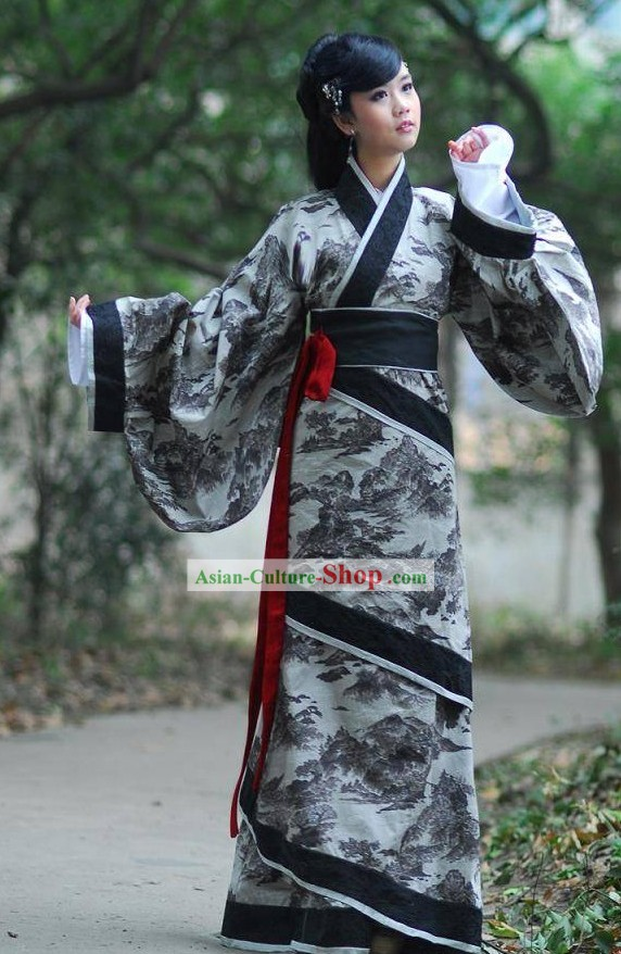 Ancient Landscape Painting Beauty Hanfu Clothing Complete Set