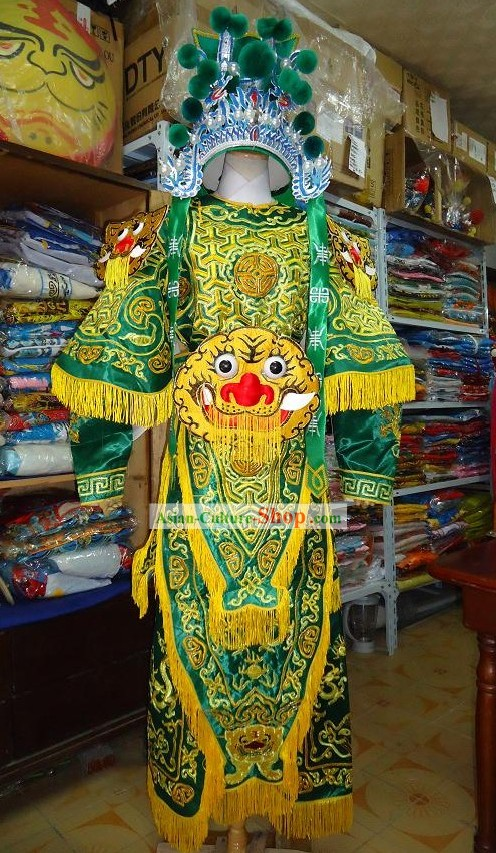 Peking Opera Da Kao Embroidered Armor Costumes and Helemt Complete Set