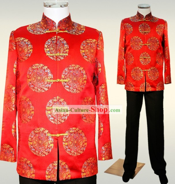 Chinese Auspicious Red Wedding Dress for Bridegrooms