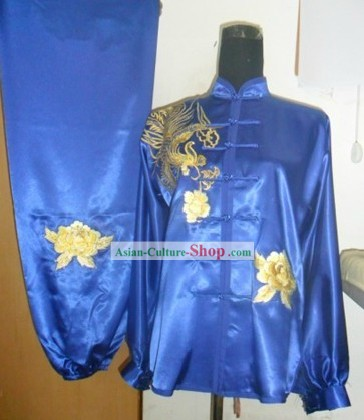 Traditional Chinese Blue Phoenix Silk Wu Shu Clothing