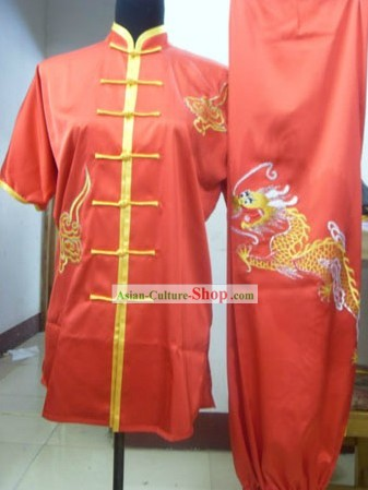 Chinese Red Silk Dragon Kung Fu Practice Uniform