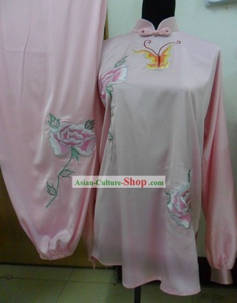 Chinese Silk Butterfly and Flower Kung Fu Contest Uniform for Women