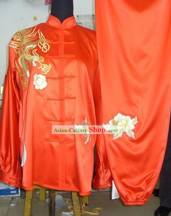 Chinese Red Silk Embroidered Dragon Kung Fu Suit