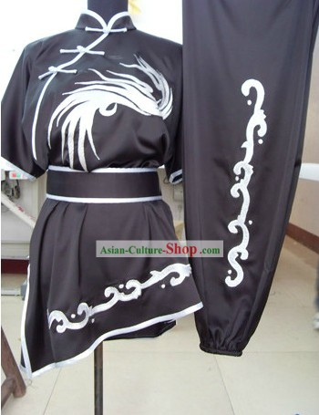 Traditional Chinese Silk Embroidered Crane Martial Arts Suit