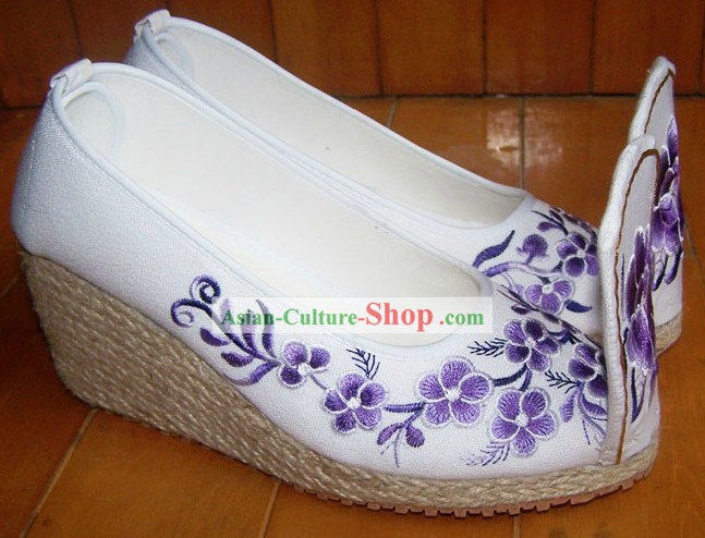 High Heel Embroidered Flower Shoes for Women
