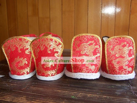 Traditional Chinese Bride and Bridegroom Wedding Shoes 2 Pairs