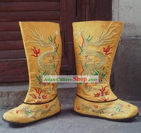 Ancient Chinese Emperor Embroidered Dragon Boots