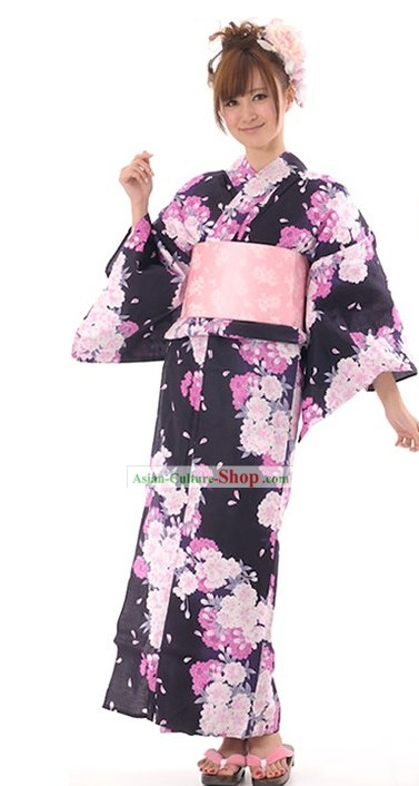 Japanese Kimono Clothes Complete Set for Women